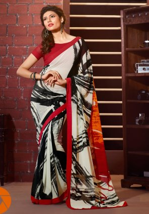 Diffusion Tantalizing Off White And Orange Printed Saree