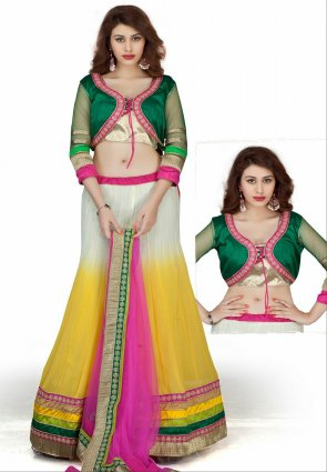 Diffusion Tantalizing Off White And Yellow Lehenga Choli