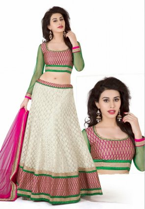 Diffusion Tantalizing Pale Gray And Pale Off White Lehenga Choli