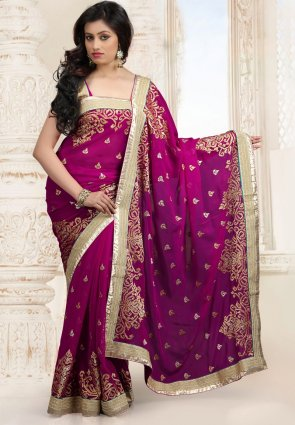 Diffusion Tantalizing Plum And Wine Embroidered Saree