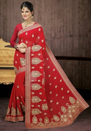 Diffusion Tantalizing Red Embroidered Saree