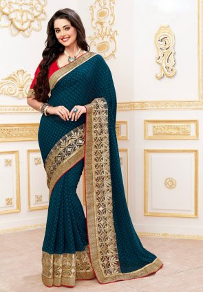 Diffusion Tantalizing Steel Blue Embroidered Saree