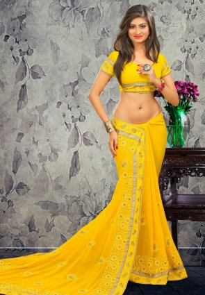 Diffusion Tantalizing Yellow Embroidered Saree