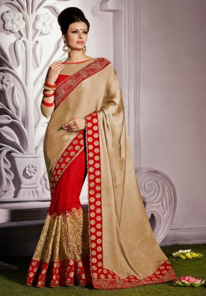 Diffusion Tranquil Beige  And  Brick Red Embroidered Saree