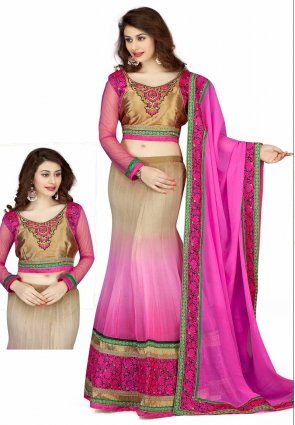 Diffusion Tranquil Beige And Pink Lehenga Choli