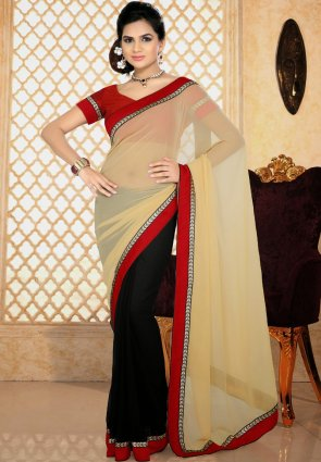 Diffusion Tranquil Black And Buttercream Printed Saree