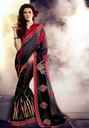 Diffusion Tranquil Black And Red Embroidered Saree