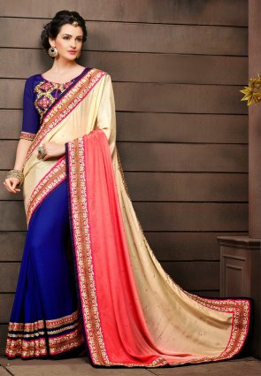 Diffusion Tranquil Blue And Tomato Embroidered Saree