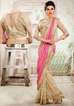 Diffusion Tranquil Buttercream And Rose Pink Embroidered Saree