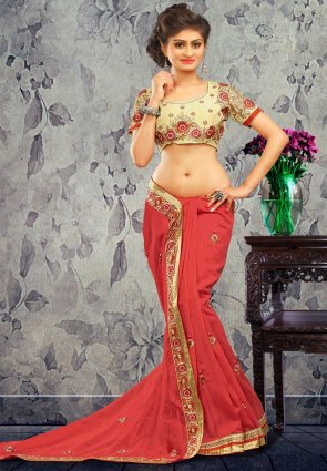 Diffusion Tranquil Deep Coral Embroidered Saree