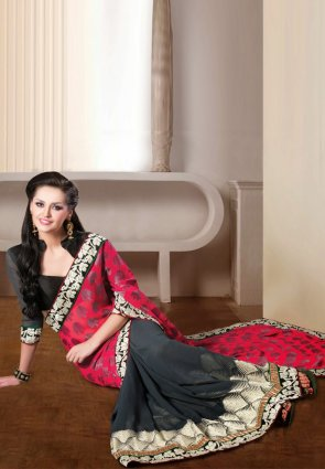 Diffusion Tranquil Gray And Red Embroidered Saree
