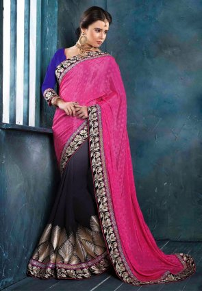Diffusion Tranquil Navy Blue And Pink Embroidered Saree