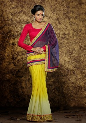 Diffusion Tranquil Navy Blue And Yellow Embroidered Saree