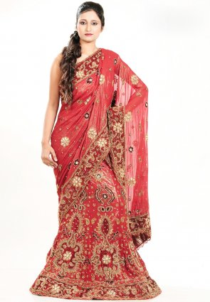 Diffusion Tranquil Red Chaniya Choli