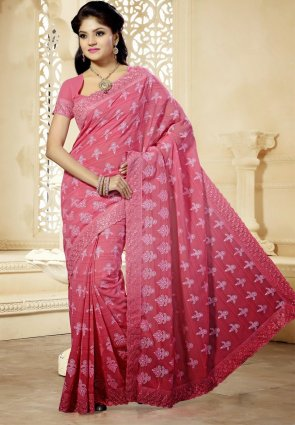 Diffusion Tranquil Salmon Embroidered Saree