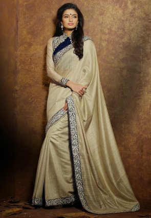 Diffusion Unique Beige Embroidered Saree