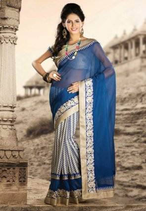 Diffusion Unique Beige And Royal Blue Embroidered Saree
