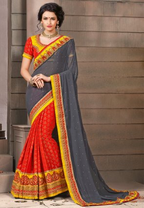 Diffusion Unique Coral And Gray Embroidered Saree