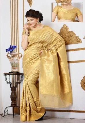 Diffusion Unique Gold Color Embroidered Saree