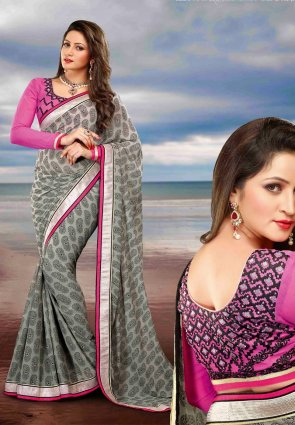 Diffusion Unique Gray Embroidered Saree