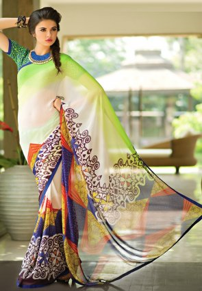 Diffusion Unique Lime Green And Yellow Printed Saree