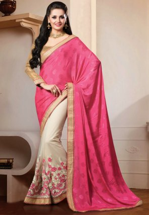 Diffusion Unique Off White And Pink Embroidered Saree