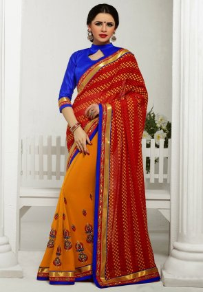 Diffusion Unique Orange And Red Embroidered Saree