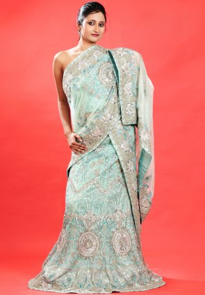 Diffusion Unique Pale Aqua Blue Chaniya Choli