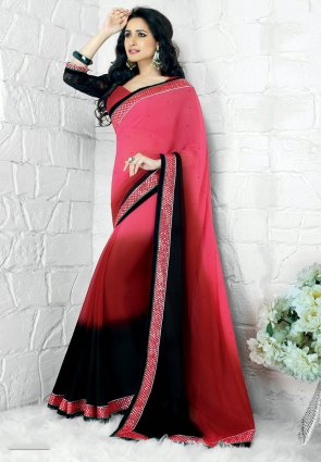 Diffusion Unique Pink And Red Embroidered Saree