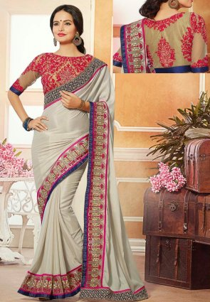 Diffusion Unique Silver Embroidered Saree