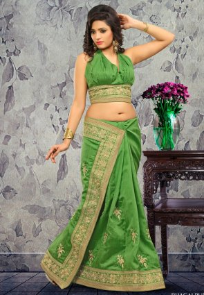 Diffusion Vivacious Aloe Vera Green Embroidered Saree