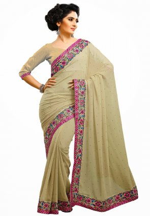 Diffusion Vivacious Beige Embroidered Saree