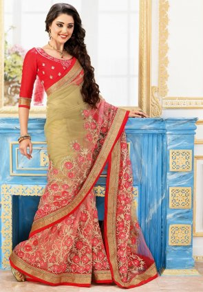 Diffusion Vivacious Beige And Pale Salmon Embroidered Saree