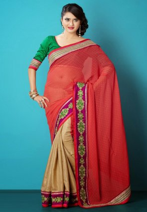 Diffusion Vivacious Beige And Red Embroidered Saree