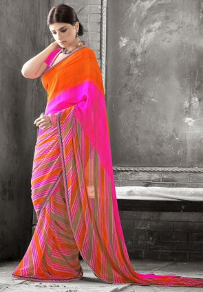 Diffusion Vivacious Coral And Pink Embroidered Saree