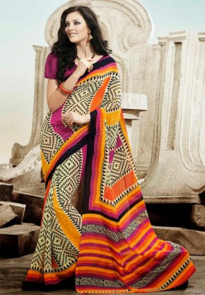 Diffusion Vivacious Cream And Magenta Printed Saree