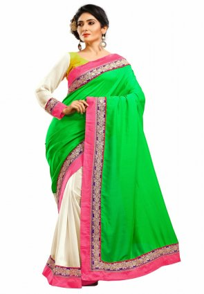 Diffusion Vivacious Green And Off White Embroidered Saree