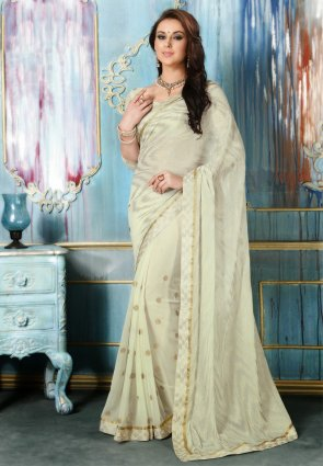 Diffusion Vivacious Ivory Embroidered Saree