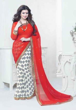 Diffusion Vivacious Off White And Red Embroidered Saree