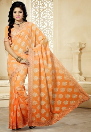 Diffusion Vivacious Peach Puff Embroidered Saree