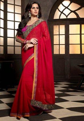 Diffusion Vivacious Red Embroidered Saree