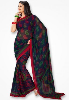Rajshree Dark Blue Rose Corn Flower Printed Saree