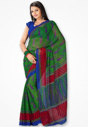 Rajshree Green And Blue Georgette Printed Saree