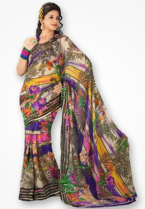 Rajshree Multicolor Georgette Corn Flower Saree