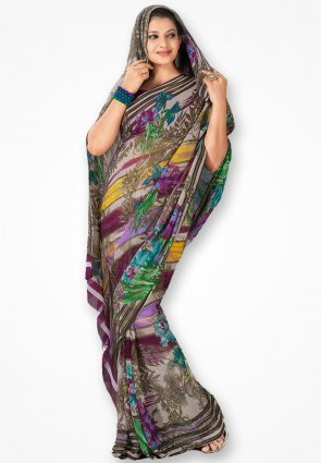 Rajshree Multicolor Georgette Printed Saree