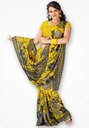 Rajshree Mustard Yellow Designer Printed Saree