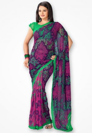 Rajshree Pink And Green Georgette Printed Saree