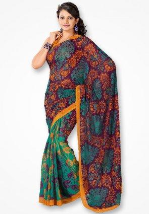 Rajshree Sky Blue And Violet Designer Saree