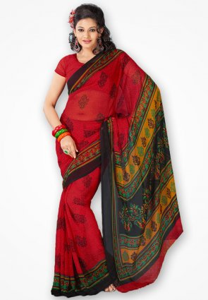 Rajshree Stylish Dark Red Georgette Printed Saree