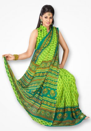 Rajshree Stylish Light Green Printed Saree
